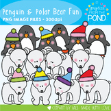 Penguin and Polar Bear Fun! Graphics From the Pond