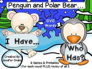 Polar Bear & Penguin 'I Have, Who Has' Game; CVC Words; 6