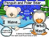 Polar Bear & Penguin 'I Have, Who Has' Game; CVC Words; 6 Games & Printables