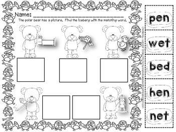 Polar Bear & Penguin 'I Have, Who Has' Game; CVC Words; 6 Games & Printables