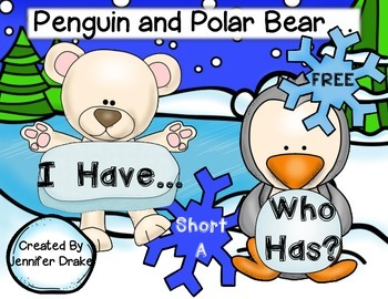 Polar Bear & Penguin 'I Have, Who Has' Game;  Short A Words  **FREE**