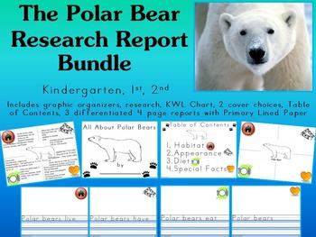 Polar Bear Research Report NO PREP Primary Writing Book K 1 2