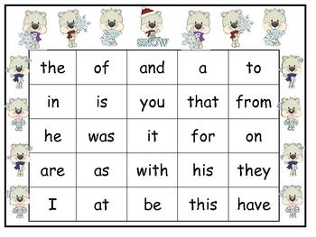 Polar Bear Sight Word Bingo Game- First 25 Fry Words