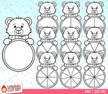 Polar Bear Spinners Winter Clip Art