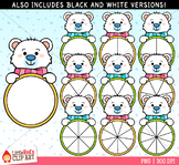 Polar Bear Spinners Winter Clip Art