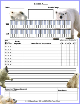 Polar Bear Themed Piano Lesson Assignment Sheet