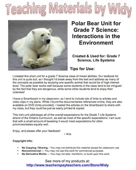 Polar Bear Unit Plan - Grade 7 Life Science - Interactions In The Environment