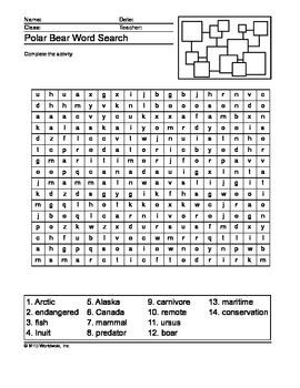 Polar Bear Word Search Printable