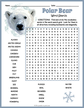 All About Polar Bears Word Search