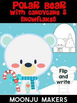 Polar Bear with Candy Cane & Snow - Moonju Makers for Activities, Decor, Writing