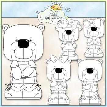 Polar Bears Clip Art - Winter Clip Art - CU Clip Art & B&W