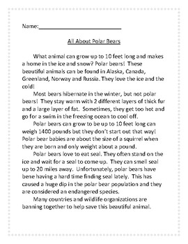 Polar Bears- Informational Reading and Writing with Graphic Organizers