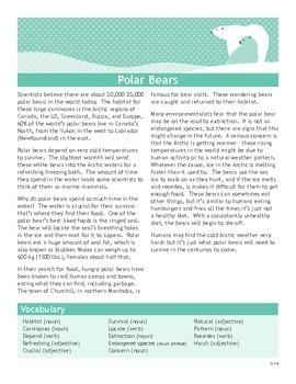 Polar Bears Informational Texts Activities