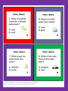 Polar Bears Science Task Cards