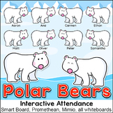 Polar Bears Theme Attendance with Lunch Count for Interactive Whiteboards