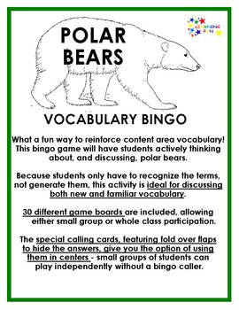 Polar Bears Vocabulary Bingo
