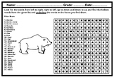 Polar Bears Word Search Worksheet, Polar Animals Distance Learning Packet