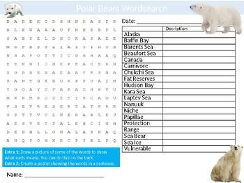 Polar Bears Wordsearch Sheet Cartoon Starter Activity Animals Mammals