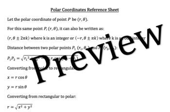Polar Coordinates Unit Reference Sheet