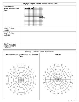 Polar Coordinates and Complex Numbers - Interactive Notebook Activities