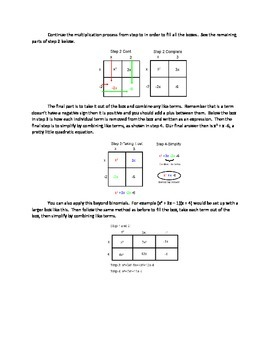 Multiplying Binomials with the Punnett Square Box Method