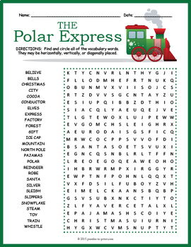 The Polar Express Word Search Puzzle | Christmas Reproducibles ...
