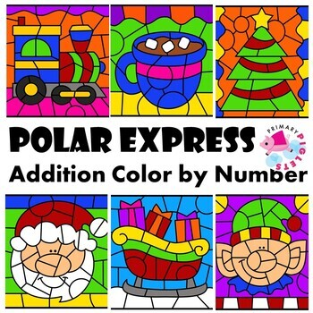 Color by Number Addition Sums to 10 Christmas Math Mystery Pictures BUNDLE