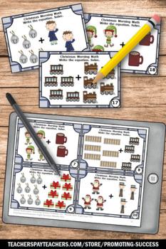 Christmas Math Activities, Addition Task Cards, Kindergarten Math Center Games