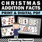 Kindergarten Christmas Math Activities, Kindergarten Addition Facts Task Cards