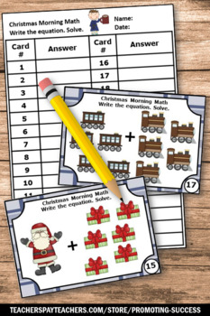 Kindergarten Christmas Math Activities, Kindergarten Addition Facts Task Cards