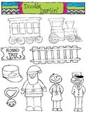 Polar Express BLACK AND WHITE Clipart Set