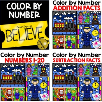 Polar Express Activities | Christmas Color by Number Addition Subtraction Set