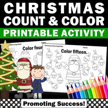 Kindergarten Christmas Math Worksheets Counting Christmas Coloring