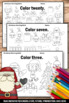 Christmas Math Activities, Kindergarten Math Coloring Pages, Count and Color