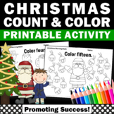 Kindergarten Christmas Math Worksheets, Counting Christmas Coloring Worksheets