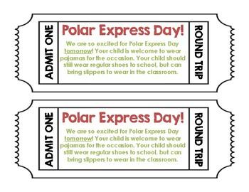 Polar Express Day - Parent Reminder Letter