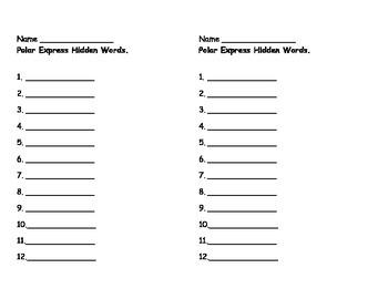 Polar Express Hidden Words