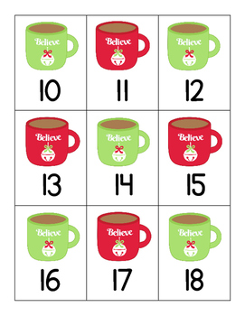 Polar Express: Hot Chocolate & Marshmallows Ten and Twenty Frame Match