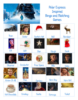 Polar Express Inspired Bingo and Matching Games