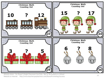 Christmas Math Activities, Counting On Strategy, Kindergarten Math Centers