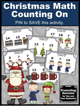 Kindergarten Christmas Math Centers, Counting On from a Given Number Task Cards