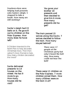 Polar Express Math Scavenger Hunt *Editable*