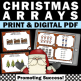 2nd Grade Christmas Math Activities, Arrays and Repeated Addition Task Cards
