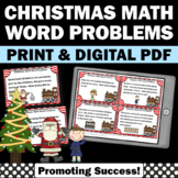 Christmas Math Games 1st Grade Addition & Subtraction Word Problems Task Cards