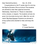 Polar Express Movie Day Parent Letter