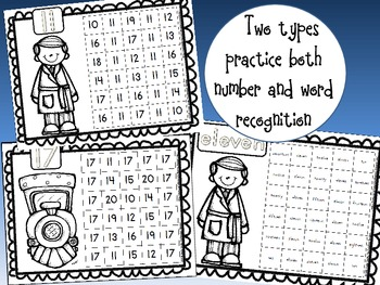 Polar Express Number & Number Word Recognition Practice Sheets (40 Total)