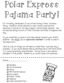 Polar Express Party Letter