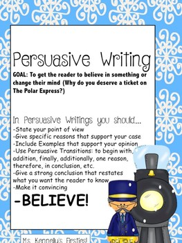 Polar Express Persuasive Writing (Round Trip Ticket)