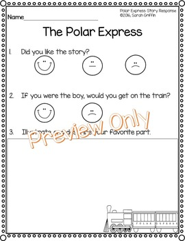 Polar Express Story Reponse Sheet - Opinion Writing