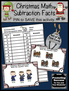 Christmas Math Activities, Kindergarten Subtraction Task Cards, SCOOT Games